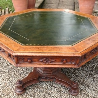 Antique Octagonal Oak Library Centre Table