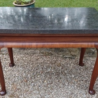 Antique Marble Top Walnut Console Table