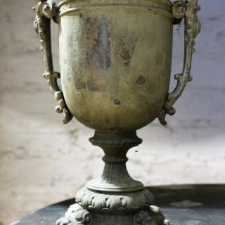 A Pretty French Verdigris Patinated Copper Campana Urn c.1900