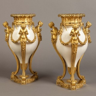 A Pair of Antique Marble Vases in the Louis XVI Manner