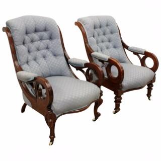Pair of Mid Victorian Mahogany Armchairs