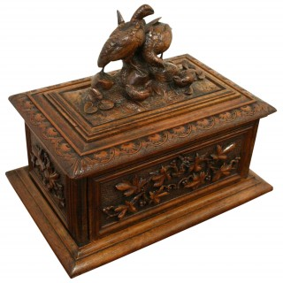 Black Forest Carved Walnut Casket