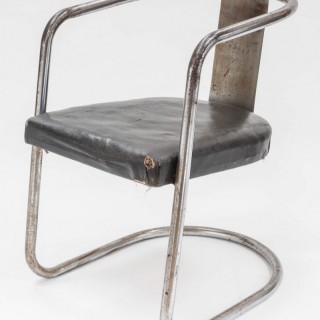 Modernist Chromed Steel Tubular Chair from the Art Deco Period