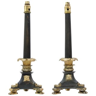 Pair of Regency Oil Lamp Bases by William Bullock Converted to Table Lamps