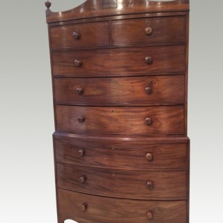 Regency  bow fronted mahogany tallboy
