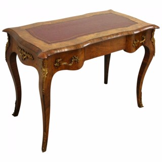 French Serpentine Walnut Writing Table