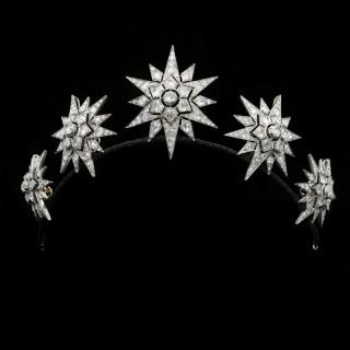 A Beautiful Victorian Diamond Star Tiara c.1860