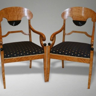A Pair Of Antique Biedemier Style  Arm Chairs