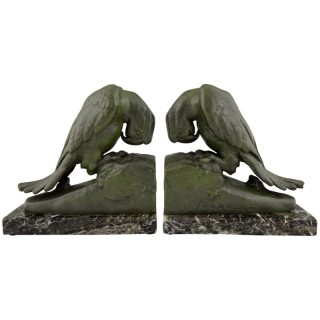 French Art Deco parrot bookends