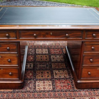 Antique Mahogany Partners Desk by Edwards and Roberts