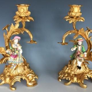 Minton Porcelain Figures & Ormolu Candlesticks