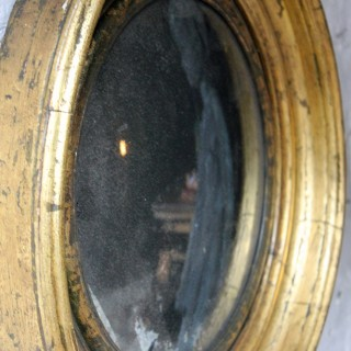 A Very Pretty Regency Giltwood & Gesso Convex Mirror Surmounted by an Eagle c.1815