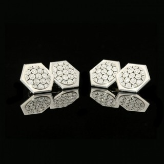 A Stylish Pair Of Platinum And Diamond Cufflinks By Lacloche Frères, c.1925
