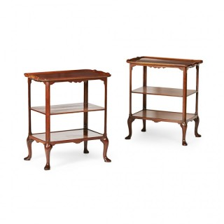 Pair of Whytock & Reid Walnut Etageres/Side Tables