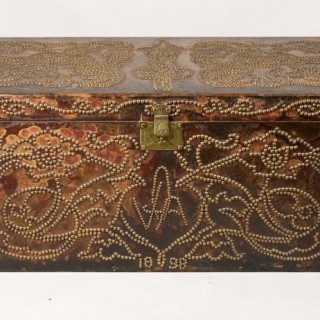 A Late 19th Century Leather Bound Travelling Trunk