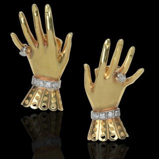 Retro Gold & Diamond 'Hand & Glove' Earclips By Paul Flato c.1940