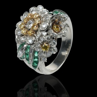 A Retro Diamond, Yellow Diamond And Emerald Cocktail Ring By Shreve & Co. c.1950