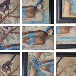 Circle of Samuel Dixon; A Marvellous Trio of Ornithological Embossed Watercolour Studies c.1750-65