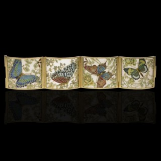Art Nouveau Cloisonne Enamel Butterfly Bracelet By Carreras c.1905