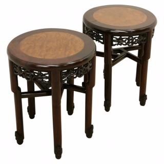 Pair of Chinese Hongmu Circular Occasional Tables