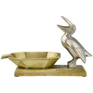 Art Deco bronze ashtray with pelican.