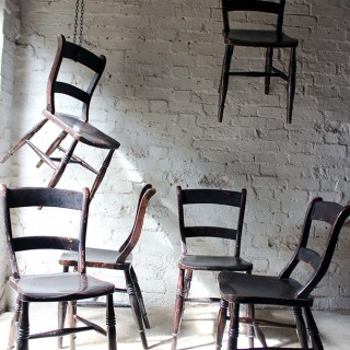 A Good Decorative Set of Six c.1860s Scottish Stained Provincial Elm & Beech Oxford-Back Chapel Chairs