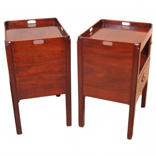 Antique Georgian Matched Pair Tray Top Commodes