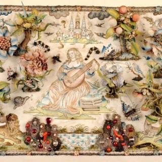AN EXCEPTIONALLY FINE MID 17TH CENTURY RAISED EMBROIDERY PANEL