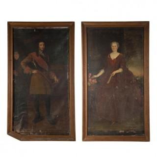 A Very Large Pair of 17thC French School Oil on Canvas Portraits of the Comtesse de la Rochelle & Rene Ferdinand de Precipiano, Baron de Cuse c.1630-40; Fonthill Abbey, Wiltshire