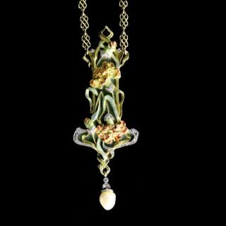 Art Nouveau Gold, Enamel, Diamond And Pearl Floral Pendant Necklace By Membrè, c.1900