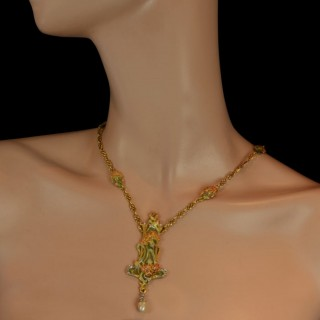Art Nouveau Gold, Enamel, Diamond And Pearl Floral Pendant Necklace By Membrè, c.1900