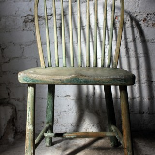 A Good Painted George III West-Country Stick-Back Childs Chair c.1800-20
