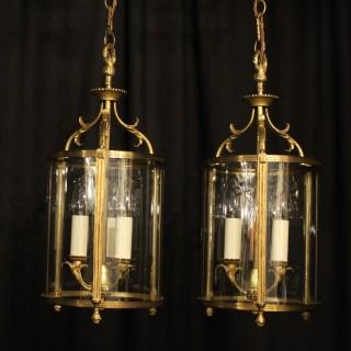 French Set Of Three Gilded Antique Lanterns