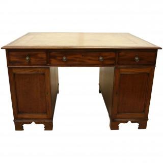 Late Georgian Mahogany Partner's Desk