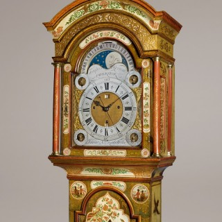 ISAAC NICKALS, WELLS     An important George II period cream lacquer longcase