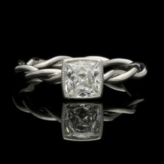 A Striking 1.09 Carat Peruzzi Cut Diamond And Platinum Ring By Hancocks