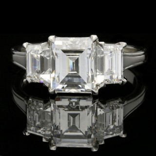 An Elegant 3.63ct Three Stone Step-Cut Diamond And Platinum Ring By Hancocks