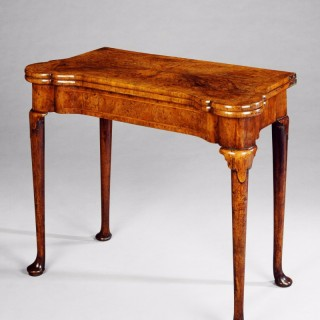 A QUEEN ANNE BURR WALNUT CARD TABLE