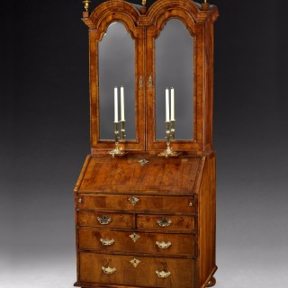 William and Mary walnut double dome bureau bookcase