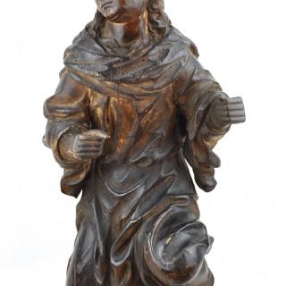 Carved walnut Angel c.1700