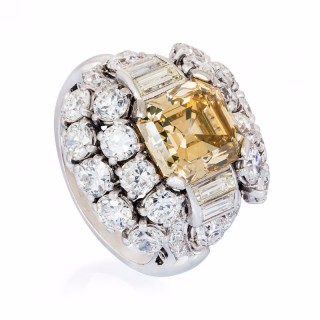 COGNAC COLOUR ASSCHER CUT DIAMOND RING