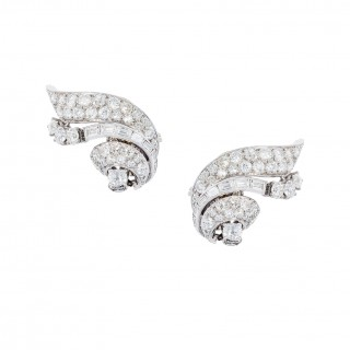PAIR OF DAY & NIGHT DIAMOND EARRINGS