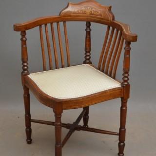 Edwardian Mahogany and Inlaid Corner Chair