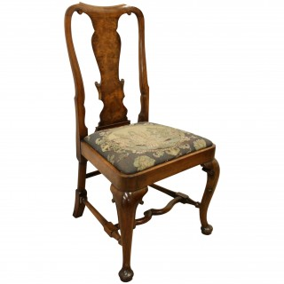 Set of 8 Queen Anne Style Walnut Dining Chairs