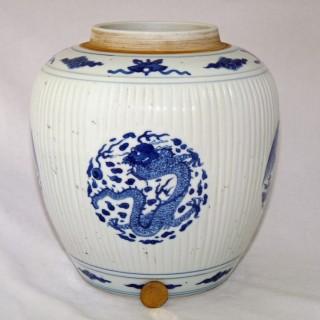 kangxi Blue and White Dragon and Phoenix Ribbed Jar