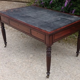 Antique Regency Mahogany Leather Top Writing Table Library Table