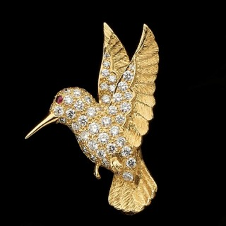 A Gold And Diamond Hummingbird Brooch By E. Wolfe & Co.