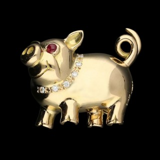 A Delightful Rose Gold And Diamond Pig Brooch By E. Wolfe And Co.