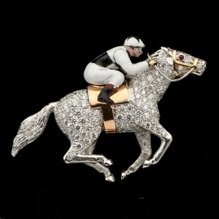 A Diamond And Enamel Racehorse And Jockey Brooch By E. Wolfe & Co.