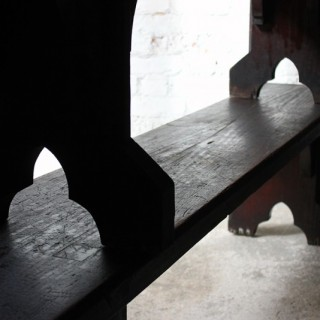 A Good Near Pair of c.1860s Gothic Revival Oak Benches in the Manner of A.W.N. Pugin